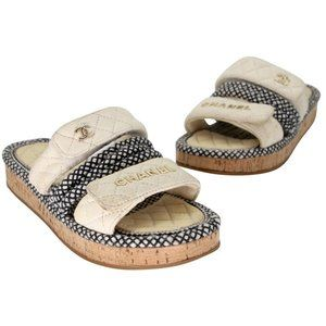 Chanel Canvas Quilted Flatform Chunky Sandals